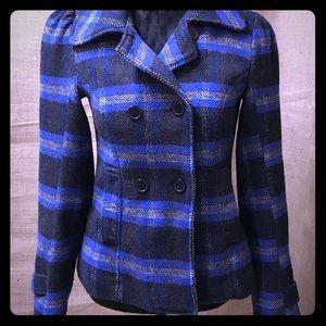 Sound & Matter Wool Blend Blue/Black Plaid Jacket